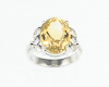 Citrine and cubic zirconia ring