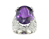 Amethyst, ruby and cubic zirconia ring