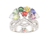 Mixed gem stones and diamond ring