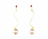 Fresh water pearl and ruby earrings