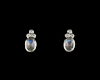 Moon stone and cubic zirconia earrings