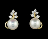 Fresh water pearl and diamond earrings