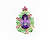 Amethyst and mixed gem stones pendant