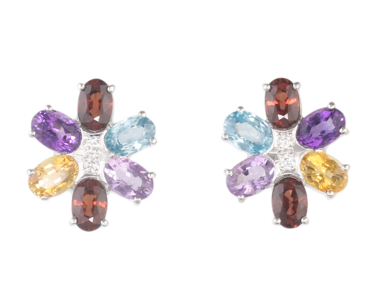 Mixed gem stones and diamond earrings - Click Image to Close