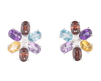 Mixed gem stones and diamond earrings